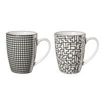 Asa - Set de 2 mugs en grès noir et blanc 20cl Maori