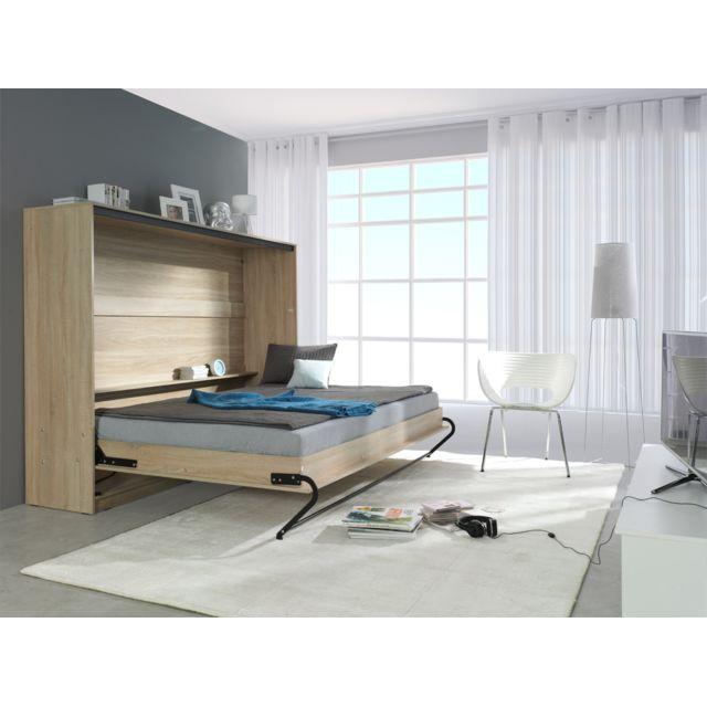 Marque generique lit escamotable horizontal 140 x 200 - Lit armoire escamotable electrique ...