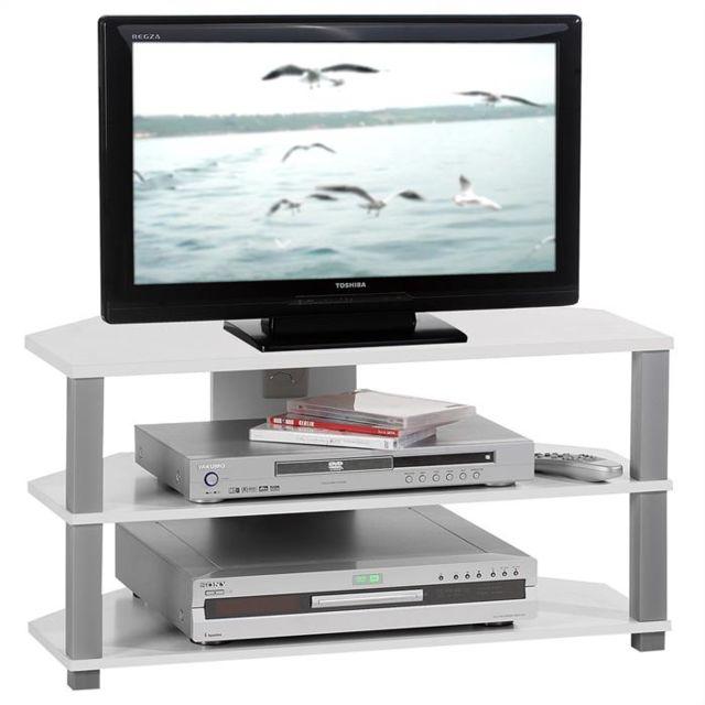 IDIMEX Meuble banc TV design JACK décor blanc et gris