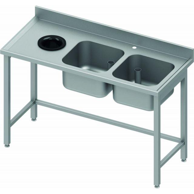 Materiel Chr Pro Table de Chef Inox - 2 Bacs à Droite et Vide Ordure - 800 mm - Stalgast - inox 1400x800 800
