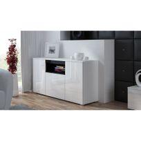 CHLOE DESIGN - Commode de salon design ELVA - Blanc/Noir