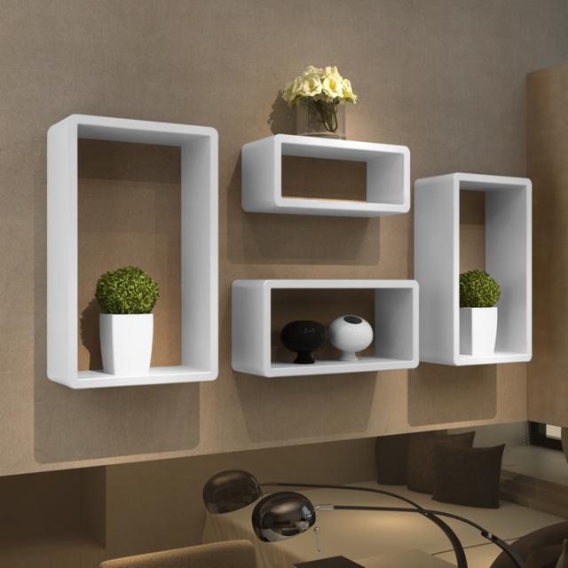 Rocambolesk - Superbe Etagères Design Murale 4 Cubes blanc neuf