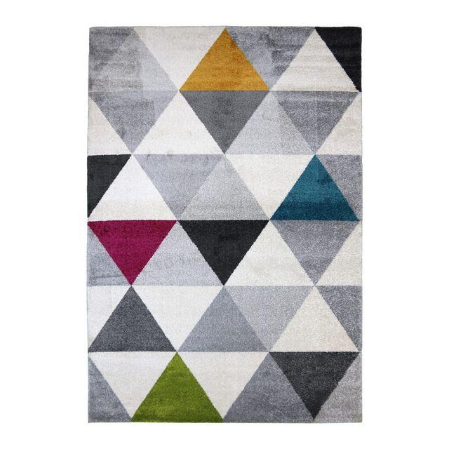 Allotapis - Tapis géométrique style scandinave multicolore pour salon Gomi 150cm x 80cm