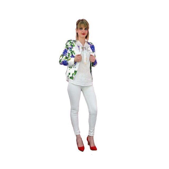 Modanana Veste Tailleur Fleurs Blanc Pas Cher Achat Vente