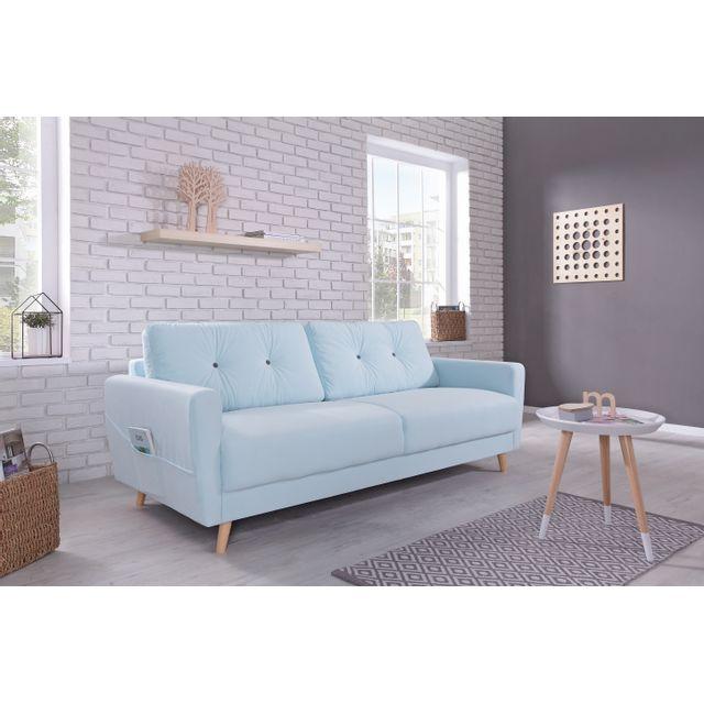 bobochic oslo canap 3 places 210x90x86cm bleu poudr 210cm x 86cm x 90cm achat vente. Black Bedroom Furniture Sets. Home Design Ideas