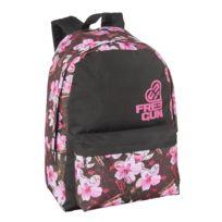 FREEGUN - Sac à dos noir et rose - Motif fleuri - 1 Compartiment - L 32cm