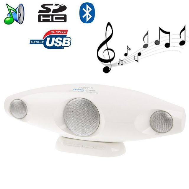 Yonis Enceinte Bluetooth portable design Jack Usb carte Sd blanc