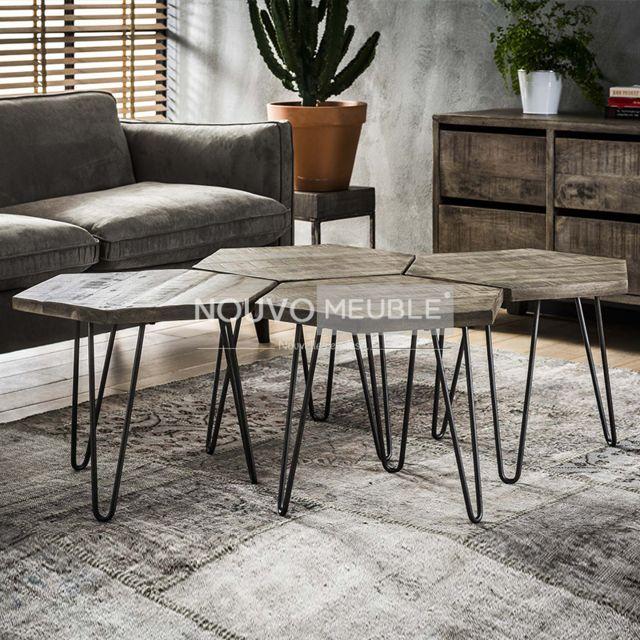 Nouvomeuble Table basse modulable en bois Colombus