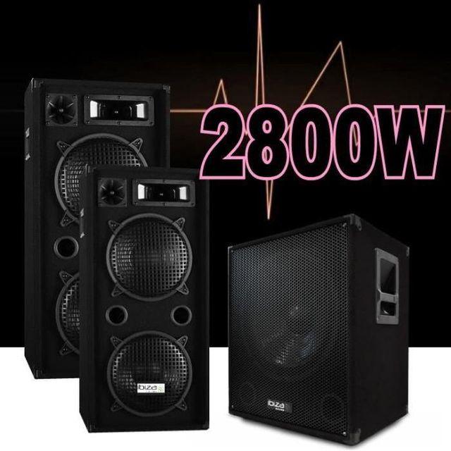 Ibiza Sound Pack sono dj 2800w avec 2 enceintes de 1000w - 1 caisson amplifié - les cables