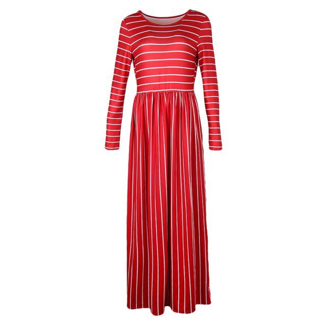 >femme casual manches 3/4 rayé plissé longue robe longue poches rouge m