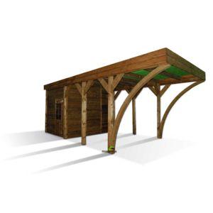 madeira carport en bois aymar 1 voiture pas cher achat. Black Bedroom Furniture Sets. Home Design Ideas