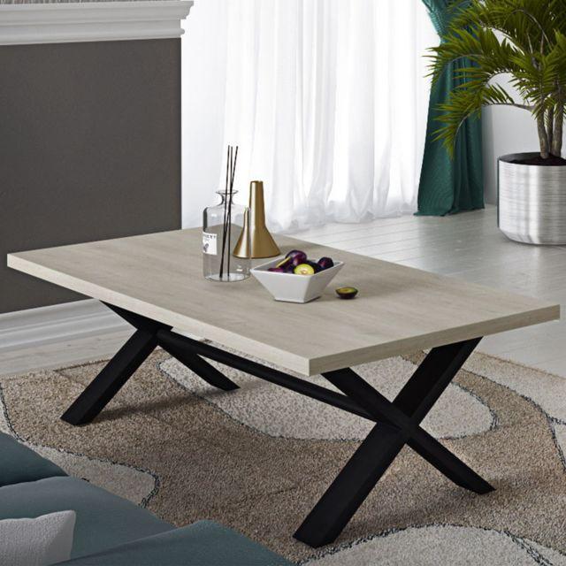 Kasalinea Table basse moderne 130 cm couleur chêne clair et noir Rosie