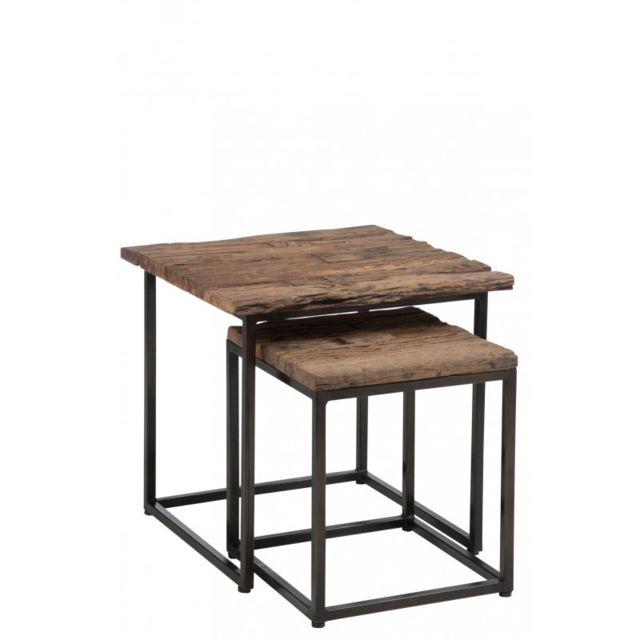 J Line Set De 2 Tables Gigogne Carrées Bois Brut Ancien Et Métal