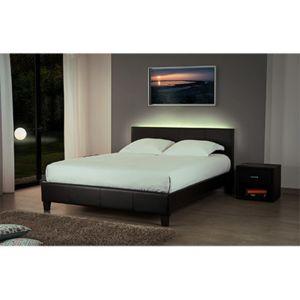 lit 180x200 option led noir bob pas cher achat vente structures de lit rueducommerce. Black Bedroom Furniture Sets. Home Design Ideas
