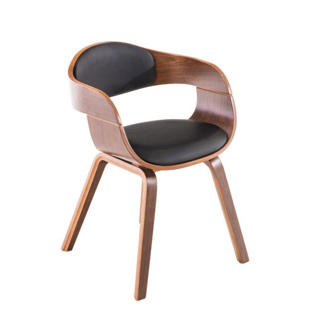 La Chaiserie Chaise de Salle à Manger simili cuir avec Accoudoirs Design Scandinave - Siège et Dossier Rembourrés -couleur: Noyer/Bla