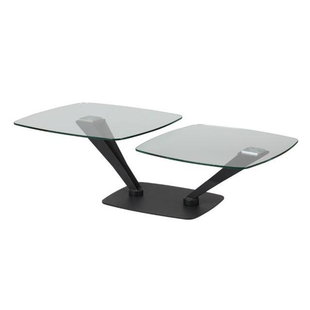 Tousmesmeubles Table basse Métal/Verre - Stratus
