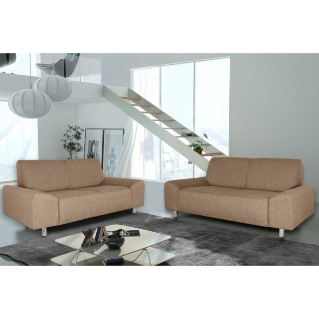 Rocambolesk Canapé Quick 3+2 savana 25 brun+pieds chrom sofa divan
