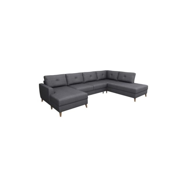 Sans Marque Andreas Canape Dangle Convertible Panoramique 5 Places - Tissu Anthracite - L 318 X P 150 X H 84 Cm