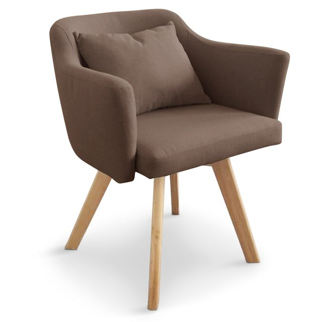 Chaise / Fauteuil scandinave Dantes Tissu Taupe