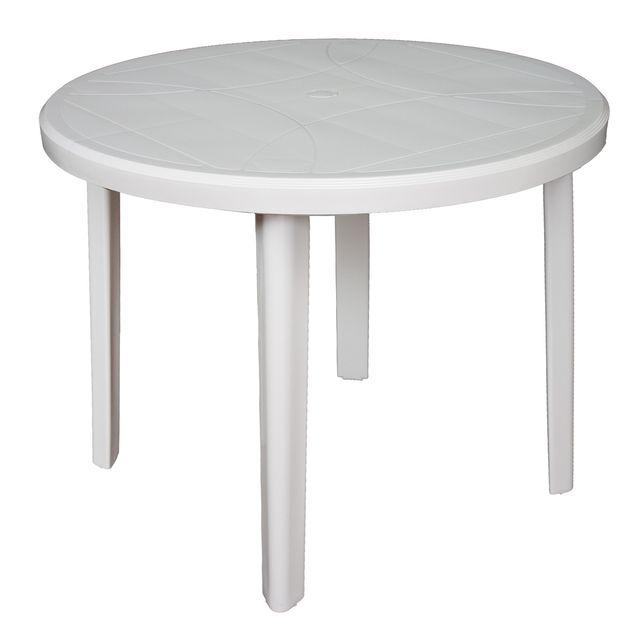ARETA Table Ronde de jardin Zeus - Blanc - Ø 90 x 72 cm