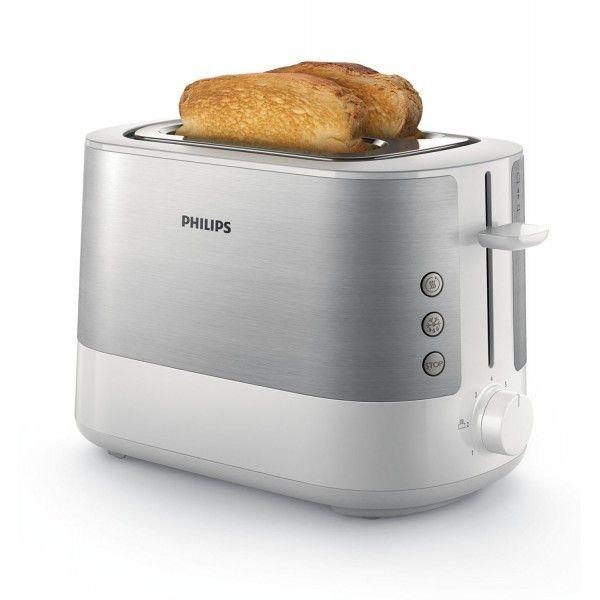 Philips Grille pain 2 Larges Fentes - 950W Métal Métal/Blanc Hd2637/00