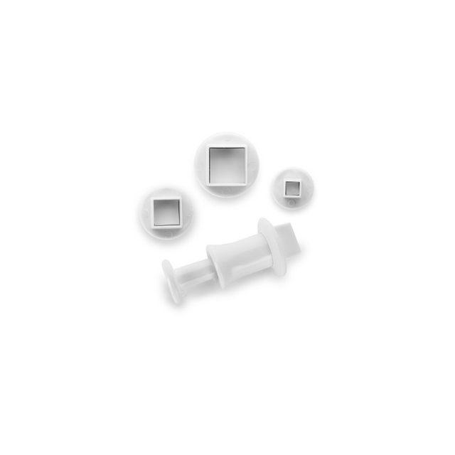 Ibili Set 3 Emporte Pieces Avec Poussoir Carre
