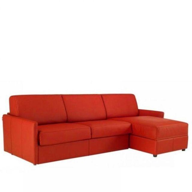 INSIDE 75 Canapé d'angle SUN convertible ouverture RAPIDO 140cm, cuir éco rouge