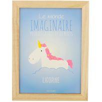 Promobo - Tableau Cadre Enfant Scandinave Bois Naturel Licorne Monde Imaginaire Coloris Pastel