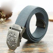 065b4e2ae620 Wewoo - Ceinture gris Hommes Dragon Motif Lisse Boucle Placage Brossé Mode  Toile Jeans