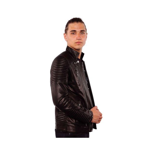 VENTIUNO ALEX Veste motard en cuir d'agneau all black noirdoudoune , fourrure, veste, doudoune, cuir, homme