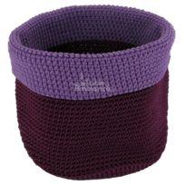 Contento - Panier crocheté Ø17cm, violet/aubergine