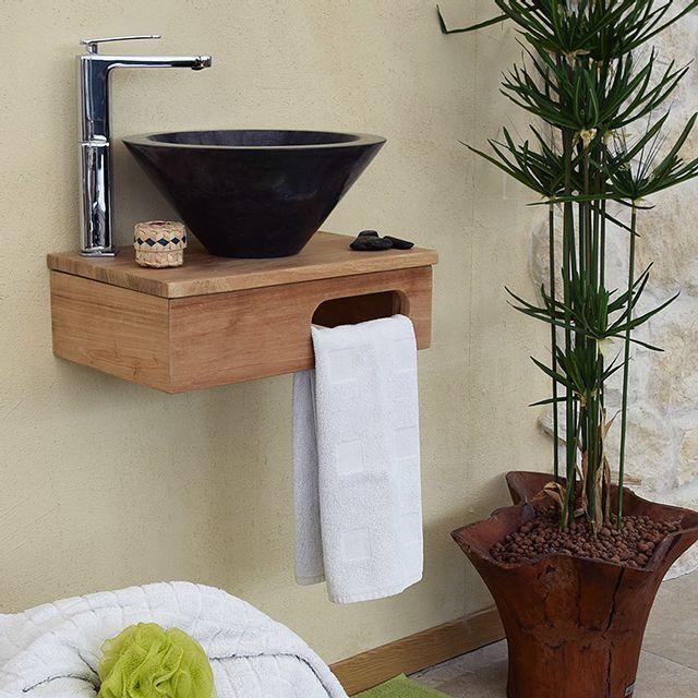 wildwater meuble sous vasque suspendu en teck pour lave. Black Bedroom Furniture Sets. Home Design Ideas