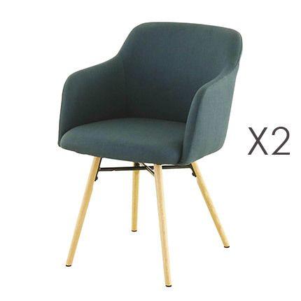 Lot de 2 fauteuils de repas bleu foncé - Mya