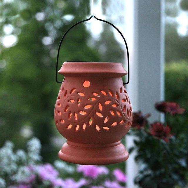 best season clay lantern lanterne solaire d 39 ext rieur led terracotta h14 5cm luminaire d. Black Bedroom Furniture Sets. Home Design Ideas