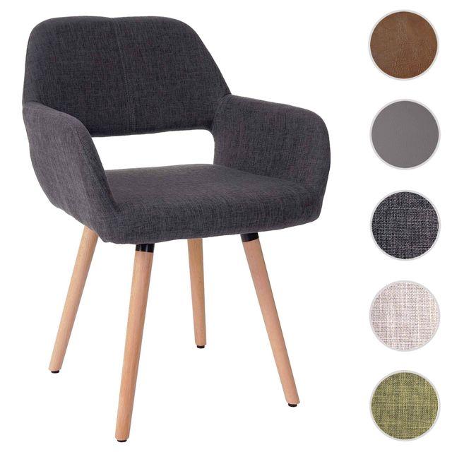 Mendler Chaise de salle à manger Altena Ii, fauteuil, design rétro des années 50 ~ tissu, gris