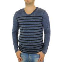 Japan Rags - Tee-shirt homme Ml Kenton rayé bleu