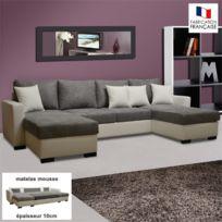 - Canapé convertible double méridienne Pu-microfibre coloris blanc-gris