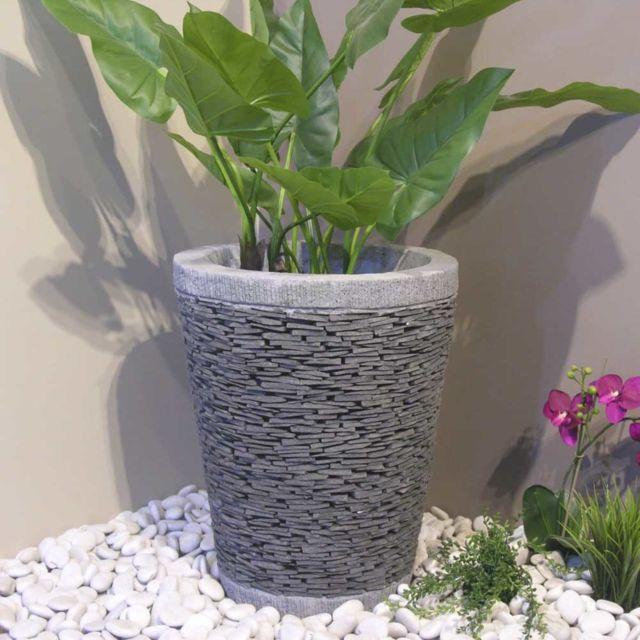 Pot Bac Jardiniere Conique Ardoise 50cm Jardin Terrasse Zen