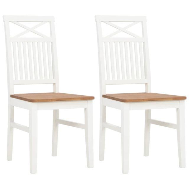 Chaises à dîner 2 pcs Blanc Bois de chêne solide