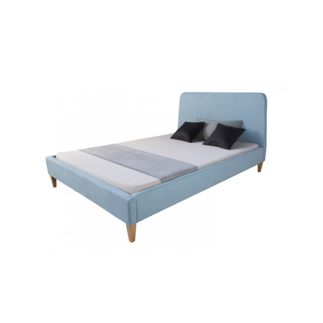 Homestyle4U Lit rembourre en tissu bleu 140 x 200