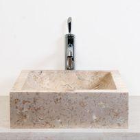 Ocean Line - Vasque salle de bain carrée en marbre Crème 44 cm - Kiara