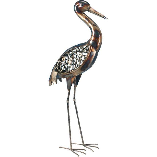 JARDINDECO Héron design en métal décoratif 88 cm