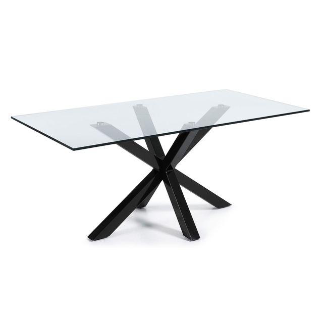 Kavehome Table Argo 200x100 cm, epoxy noir et verre transparent
