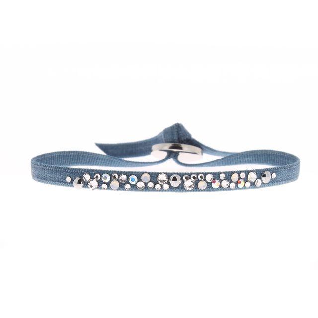 Les interchangeables bracelet en satin bleu et cristal gris