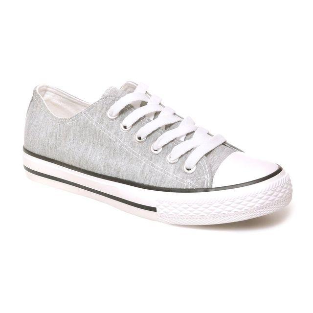 353d84e2d854a Lamodeuse - Tennis gris chiné clair en toile à plateforme - pas cher ...