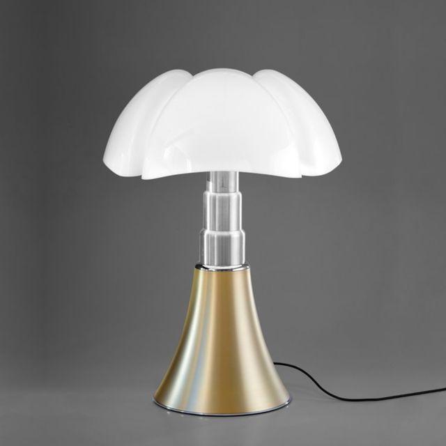 Martinelli Luce Pipistrello 4.0-Lampe Led bluetooth pied télescopique H66-86cm Laiton - designé par Gae Aulenti