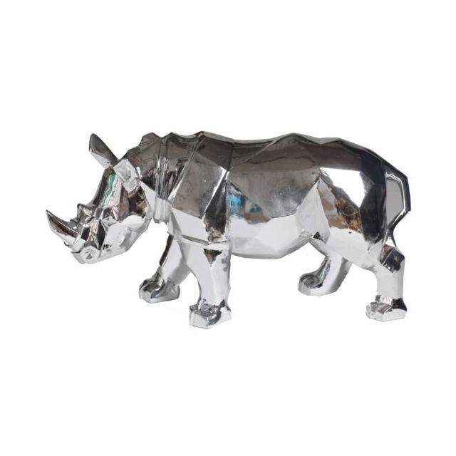 Statue rhinocéros origami argent - 42 cm