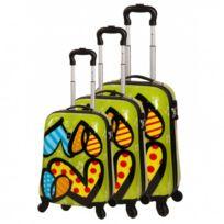 Snowball - Bagage Lot de 3 valises trolley - 4 Roues Tsa Rigide - Love Vert