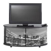 - Meuble Tv bas en bois avec 2 rideaux coulissants L110.5cm caisson noir Print