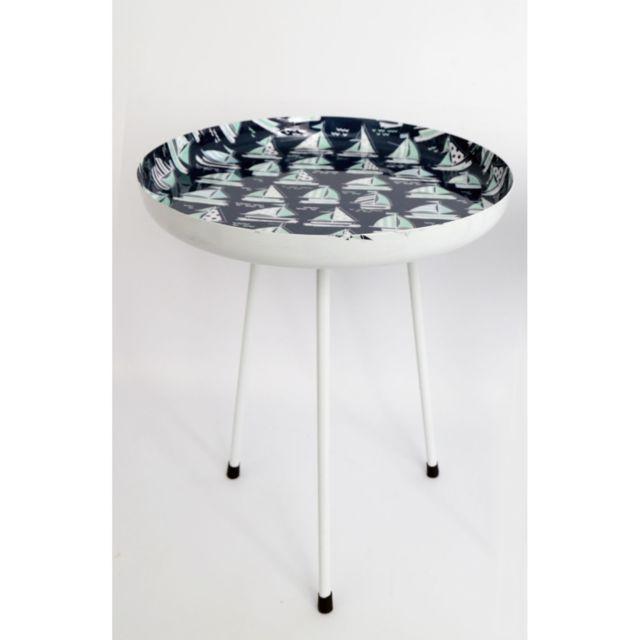Heart Of The Home Table d'appoint Thème Mer - Diam. 42 x H. 55 cm - Bleu foncé